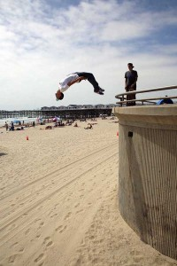 Bonestalone back flip. Pacific Beach. Photo: Cmart